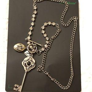 Long key charm necklace